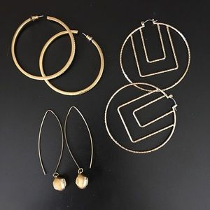 3 Pair of Quality Hoop Pierced Earrings